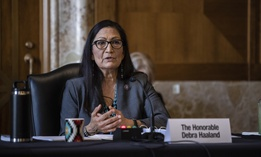 Rep. Deb Haaland, D-N.M., speaks during a Senate Committee on Energy and Natural Resources hearing on her nomination to be Interior Secretary, Tuesday, Feb. 23, 2021 on Capitol Hill in Washington.