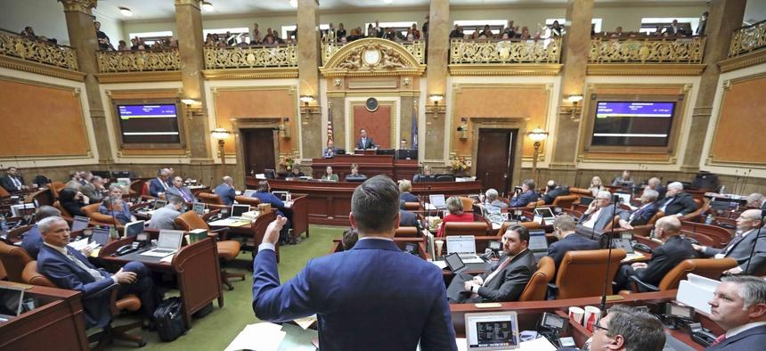Republican outgoing House Speaker Greg Hughes speaks before the Utah House of Representatives