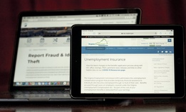 Web pages used to show information for collecting unemployment insurance in Virginia, right, and reporting fraud and identity theft in Pennsylvania, are displayed on the respective state web pages