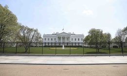 The White House from Pennsylvania Avenue outside the White House in Washington, on April 7, 2021.
